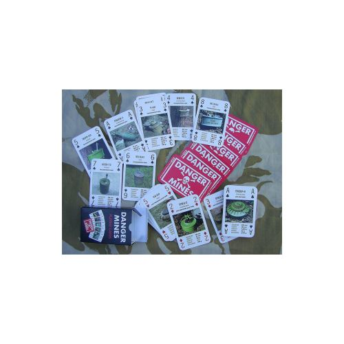 Danger Mines awareness playing cards - Relics Replica Weapons
