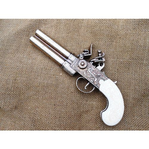 Gentlemans Flintlock Double Barrelled Pistol - Relics Replica Weapons