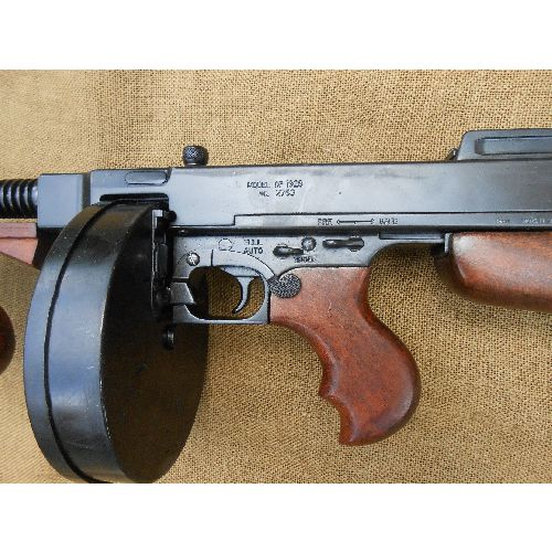 Thompson 1921 Tommygun, American 1920s gangster type replica Sub Machine Gun, a full size metal model gun - Relics Replica Weapons