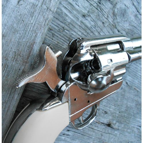 Colt Metal Sixgun Frontier Nickel plated with Plain Ivory look grips - Relics Replica Weapons