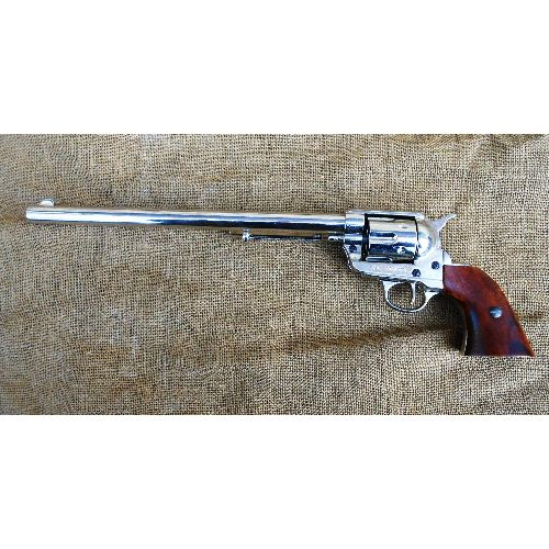 Buntline Special Nickel Plated Sixgun Colt Replica Sixgun Revolver  - Relics Replica Weapons