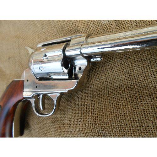 Buntline Special Nickel Plated Colt Replica Sixgun Revolver  - Relics Replica Weapons