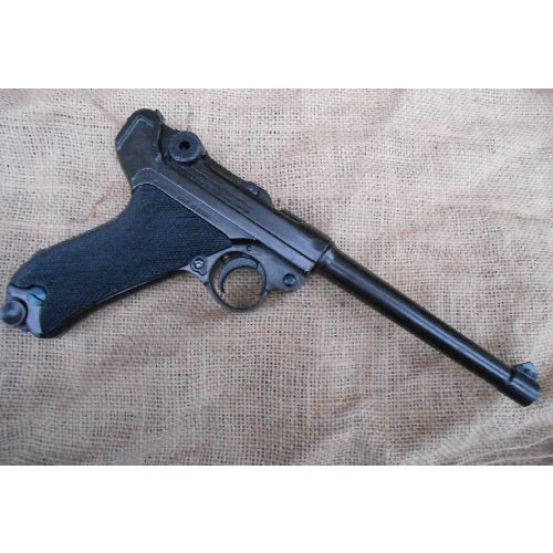 Navy Luger P-08 German Pistol with black chequered grips - Relics Replica Weapons