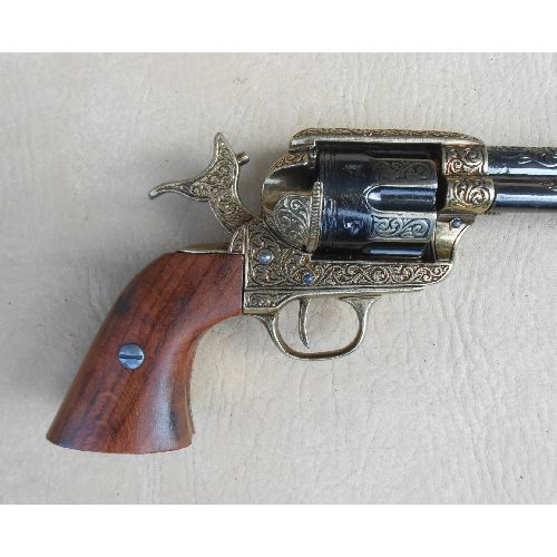 Colt Cavalry Revolver - Army Model Engraved with Wood Grips - Relics Replica Weapons
