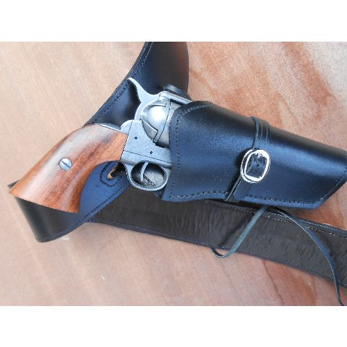 leather wild west holster and belt with genuine fired bullets