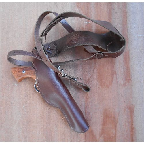 Real leather shoulder holster perfect for most revolvers 4 to 8 inch barrelled revolvers