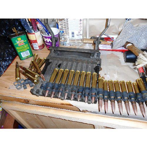 AMMUNITION BELT .50 calibre  x 20  INERT ROUNDS - Relics Replica Weapons