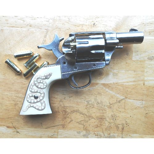 Snub Nose Sixgun Revolver the Rattler, gunmetal finish - Relics Replica Weapons
