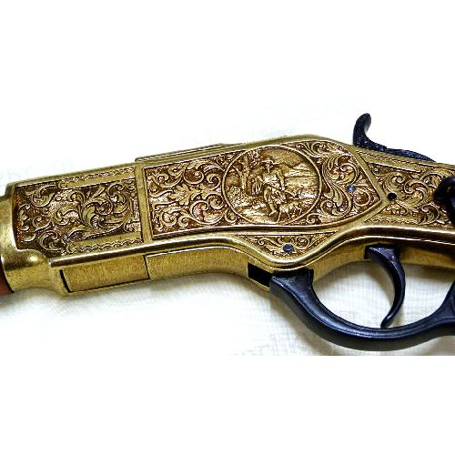 Winchester yellowboy rifle engraved replica by Denix - Relics Replica Weapons
