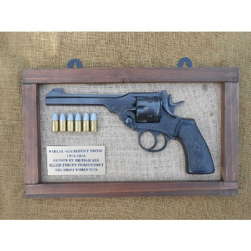 Framed Webley MK6 WW1 Replica Revolver .455 with bullets - Relics Replica Weapons