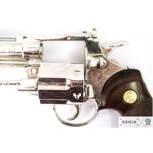 Colt Python 357 Nickel Plated 6 inch Magnum Denix Replica Revolver - Relics Replica Weapons