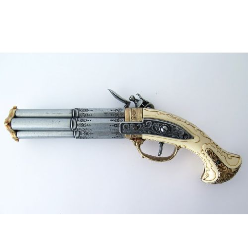Flintlock Revolving Pistol, four cannon barrelled - Relics Replica Weapons