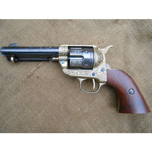 Colt Peacemaker Metal Sixgun Engraved action - Relics Replica Weapons