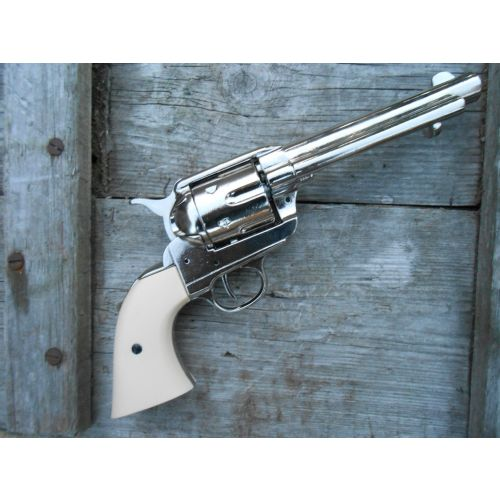 Colt Sixgun Frontier.Nickel plated Plain Ivory look grips