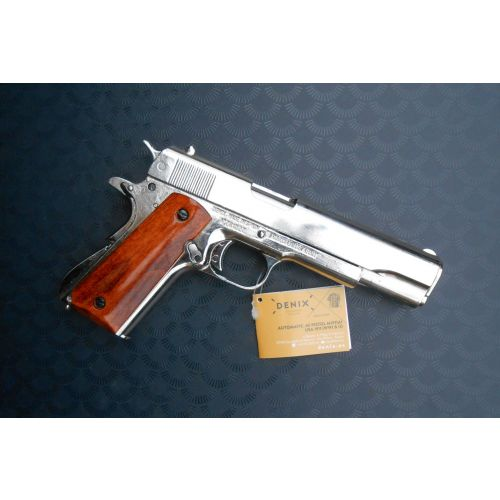 COLT 45 NICKEL PLATED M1911 AUTO HEAVY METAL REPLICA