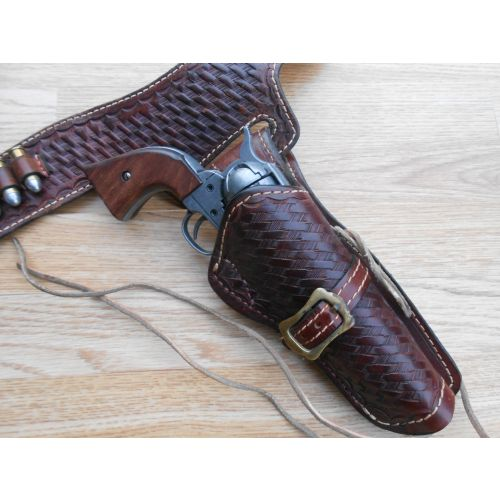 Holster with Sixgun  fast draw style lined basket weave leather rig ,
