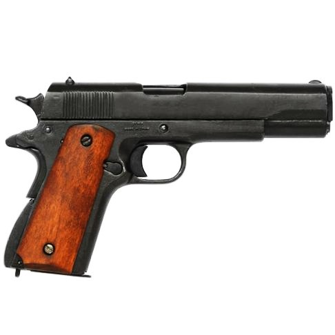 Colt 1911 auto deluxe heavy US WW1 & 2 sidearm metal with wooden grips, a relics full size model gun - Relics Replica Weapons