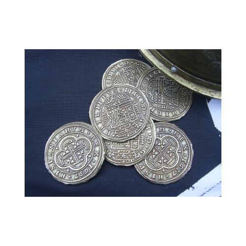 COINS GOLD 100 SPANISH ESCUDOS PIECES X 6 - Relics Replica Weapons