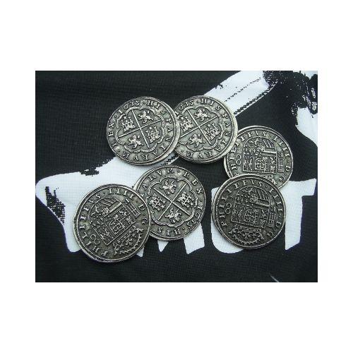 COINS PIECES OF EIGHT SPANISH x 6 - Relics Replica Weapons