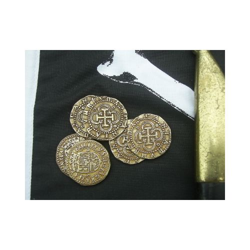 COINS GOLD DOUBLOON large x 6 - Relics Replica Weapons