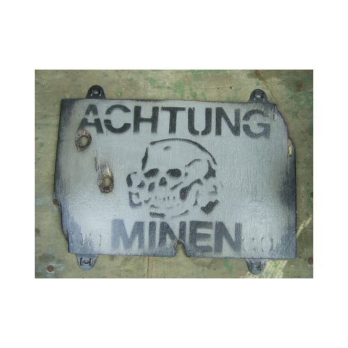 """ ACHTUNG MINEN "" MINE FIELD  GREY WARNING SIGN"
