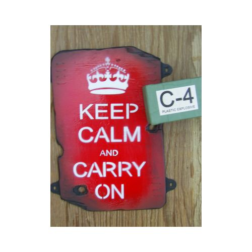 Keep Calm and Carry on WW2 style wood sign - Relics Replica Weapons