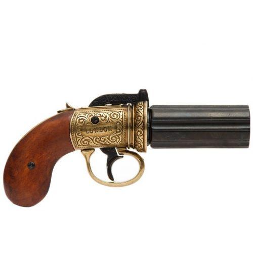 Pepperbox Revolver Percussion Action Six Barrel Gunblack - Relics Replica Weapons