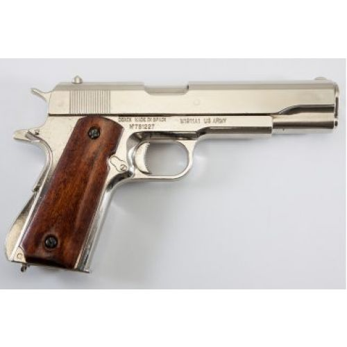 Colt 45 Nickel Replica Automatic Pistol by Denix - Relics Replica Weapons
