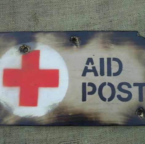 FIRST AID POST Military sign - Relics Replica Weapons