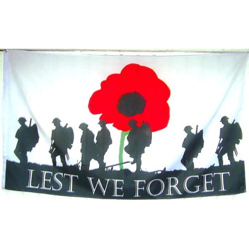 WW1 & 2 FLAG LEST WE FORGET POPPY COMMERATIVE DESIGN - Relics Replica Weapons